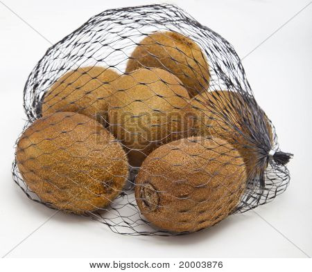 Kiwi fruits in a net bag