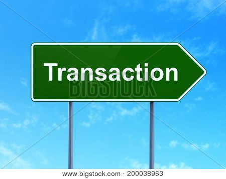Currency concept: Transaction on green road highway sign, clear blue sky background, 3D rendering