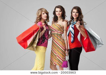 Girlfriends Smiling Shopping