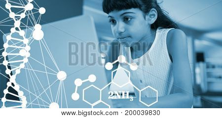 DNA helix structure against white background against girl using laptop at table