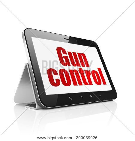 Protection concept: Tablet Computer with  red text Gun Control on display,  Hexadecimal Code background, 3D rendering