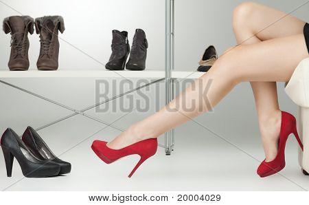 Red High Heels On Long Legs