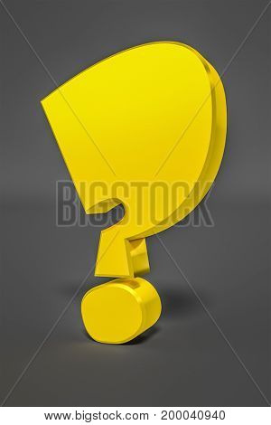 3d illustration of a stylish yellow question mark