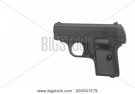 Gun isolated on white background Concept  bb, black