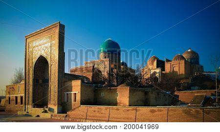 Exterior view to Shah-i-Zinda necropolis in Samarkand in Usbekistan