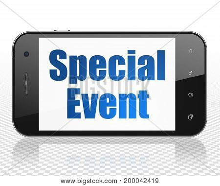 Finance concept: Smartphone with blue text Special Event on display, 3D rendering