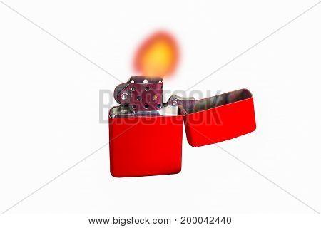 Cigarette lighter isolated on white background. burn