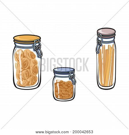 vector glass jar with swing top lid set. Different size bottles sketch cartoon isolated illustration on a white background. Kitchenware equipment utensil objects concept