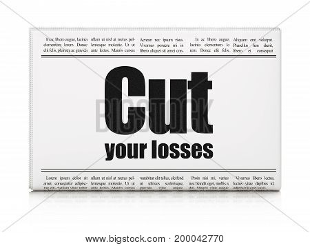 Business concept: newspaper headline Cut Your losses on White background, 3D rendering
