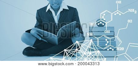 Chemical structure against white background against schoolboy studying against white background