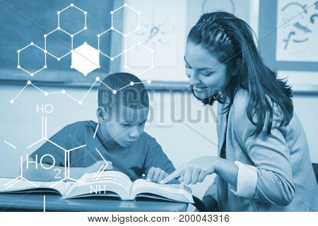 Illustration of chemical structure against teacher helping student at desk