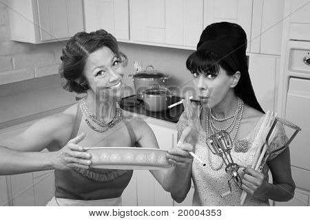 Happy Housewife With Friend