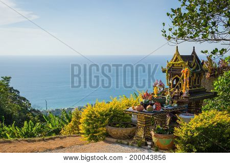 Asian Style Spirit House In Thailand. Phuket. Sea Landscape View