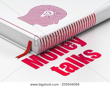 Finance concept: closed book with Red Head With Light Bulb icon and text Money Talks on floor, white background, 3D rendering