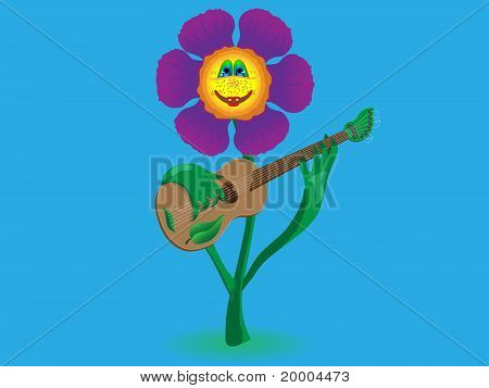 Cheerful flower plays music on the guitar