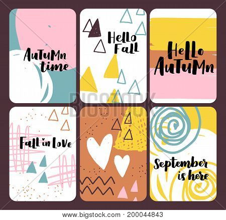 Grand Set Of Autumn Vector Illustration With Hand Lettering. Trendy Color Palette And Black Ink Phra