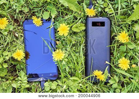 Power bank charging a smart phone lying on green grass of the meadow