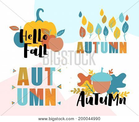 Set Of Autumn Vector Illustration With Hand Lettering. Trendy Color Palette And Black Ink Phrases On