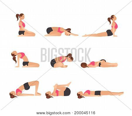 Yoga poses for better sleep. Vector illustrations with woman in sport bra and shorts doing asanas from insomnia and relaxing. Healthy poster in flat vector design. On white isolated background.
