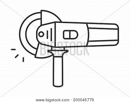Angle grinder line icon on white background. Vector illustration.