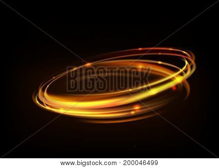 Vector gold circle light tracing effect. Glowing magic fire ring trace. Glitter sparkle swirl trail effect on black background. Bokeh glitter round ellipse line
