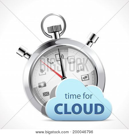 Stopwatch - time for cloud- stock illustration