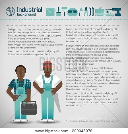 African workmen in blue overalls and set of industrial instruments on light background vector illustration