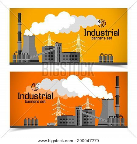 Industrial manufacturing horizontal banners with plant chimneys tubes smoke pipes truck lines of electricity transfer vector illustration