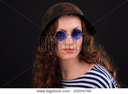 Girl In A Military Helmet