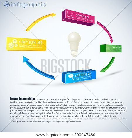 Business infographic template with bulb 3d colorful boxes clouds diagrams arrows four options isolated vector illustration
