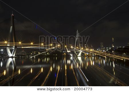Light of Anzac Bridge At Night Time, Sydney Australia