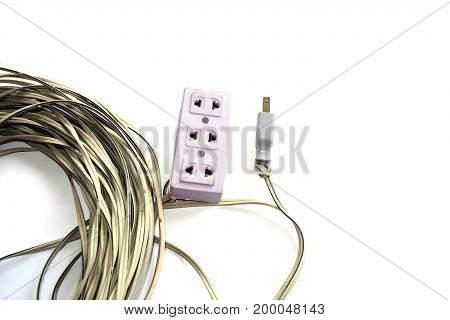 Electrical  Plug With Electric Wire On White Baclground