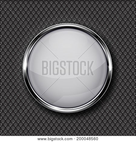 White glass button with chrome frame on metal perforated background. Vector 3d illustration