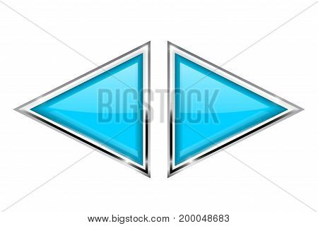 Blue triangle buttons with metal frame. Vector 3d illustration isolated on white background