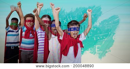 Children in superhero costumes against turquoise abstract backgrounds