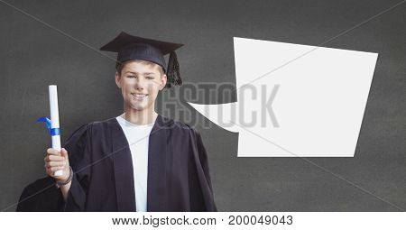 Digital composite of Graduate student boy with speech bubble holding his diploma against grey background