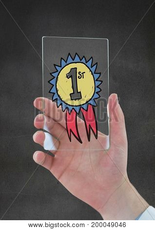 Digital composite of Hand holding a glass with a trophy icon
