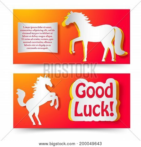 Good luck wishing paper banners set with jumping horse as symbol of new year flat vector illustration