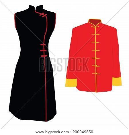 Vector illustration Chinese man woman traditional costume dress. Asian ethnic national clothes.