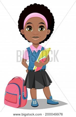 Back to school. Cute Afro-American girl with book in casual clothes stands near schoolbag. Pretty little schoolgirl. Cheerful cartoon character. Vector illustration