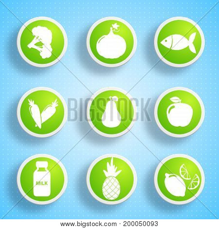 Healthy food icons set with different products useful for human body on blue background isolated vector illustration