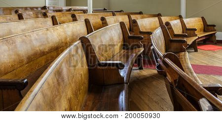 Old Wooden Pews in Church in Nanaimo British Columbia