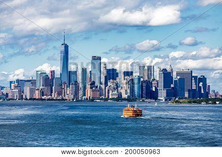 Staten Island Ferry and Manhattan Skyline on Nice Day