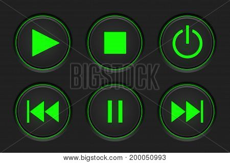 Media player main buttons set. Black and green. Vector illustration