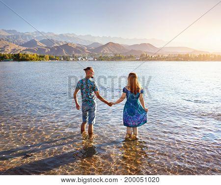 Young Couple At Issyk Kul Lake