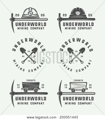 Set of retro mining or construction logos badges emblems and labels in vintage style. Monochrome Graphic Art. Vector Illustration.