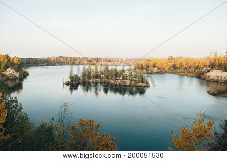 Norwegian  landscape with small island on a lake