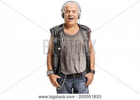 Elderly punker listening to music on headphones isolated on white background
