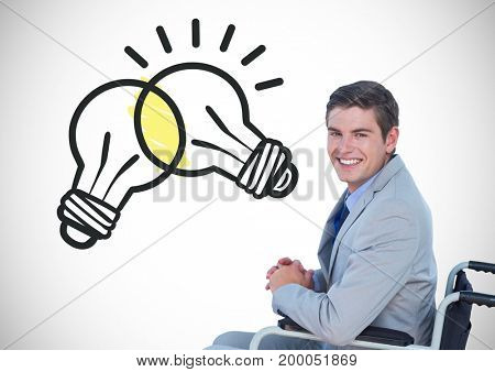 Digital composite of Disabled man in wheelchair with light bulbs clashing graphics