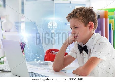 DNA helix and brain interface against boy looking at laptop